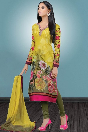 Pear Green color Crepe Salwar Kameez