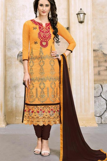 Musturd Yellow Modal Cotton Churidar Suit