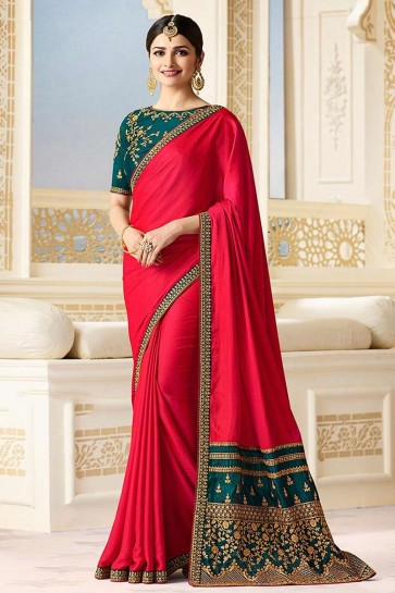 Dark Pink color Silk Saree