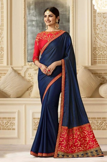 Navy Blue color Silk Saree