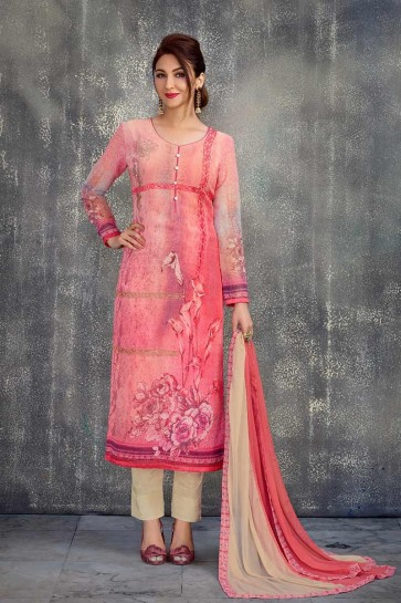 Pink color Georgette Salwar Kameez