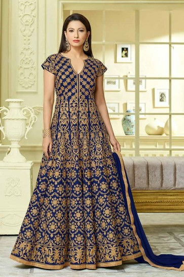 Royal Blue color Art Silk Salwar Kameez
