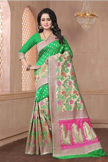 Green color Banarasi Art Silk Saree