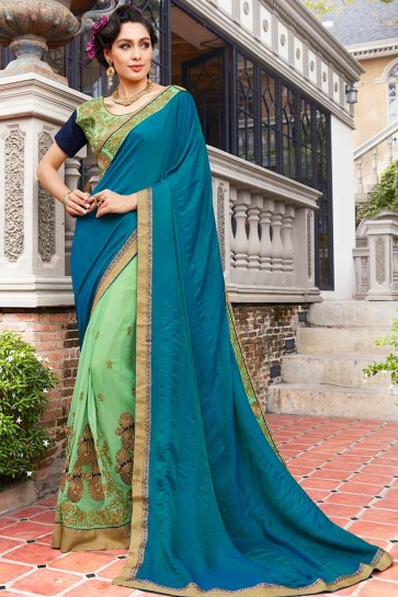 Teal Blue , Green color Self Jacquard , Georgette Saree