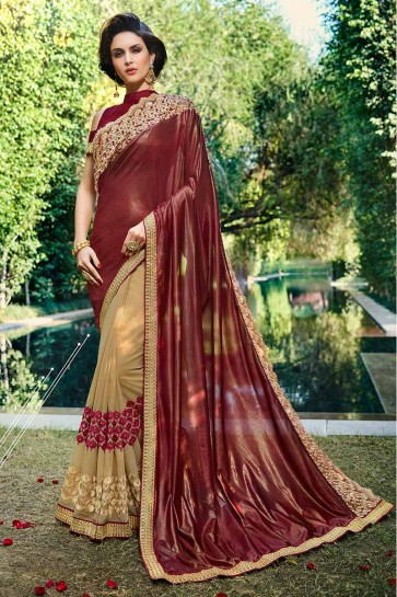 Maroon & Beige color Smoke Georgette & Georgette Saree
