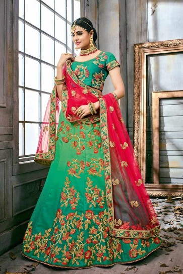 Sea Green color Satin Silk Lehenga Choli