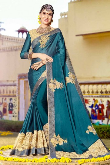 Teal Blue color Satin Georgette Saree