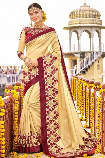 Beige color Art Silk Saree