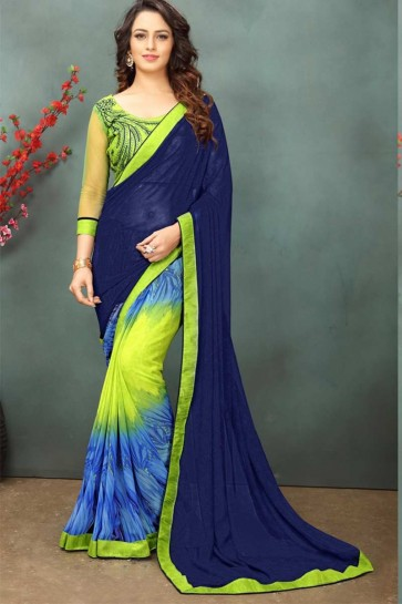 Blue & Pear Green color Georgette Saree