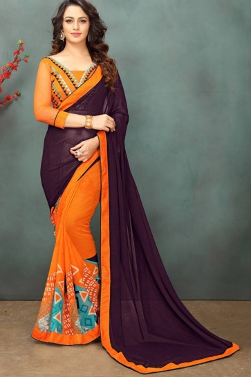 Wine & Orange color Georgette Saree