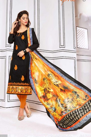 Black color Cotton Churidar Suit