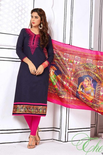 Navy Blue color Cotton Churidar Suit