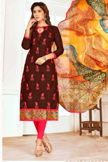 Brown color Cotton Churidar Suit