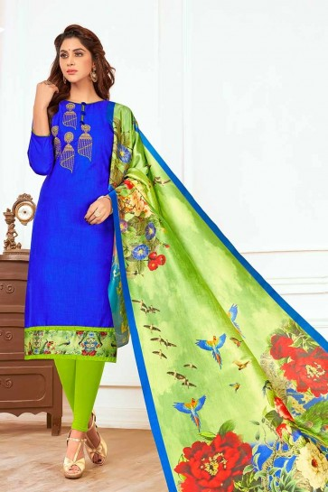 Royal Blue color Cotton Churidar Suit