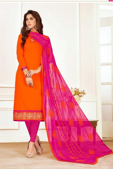 Orange color Cotton Churidar Suit