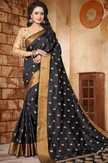 Black color Soft Silk saree