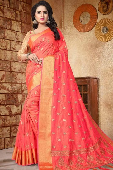 Orange color Soft Silk saree