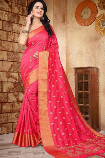 Pink color Soft Silk saree