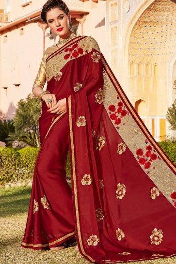 Maroon color Silk Chiffon saree