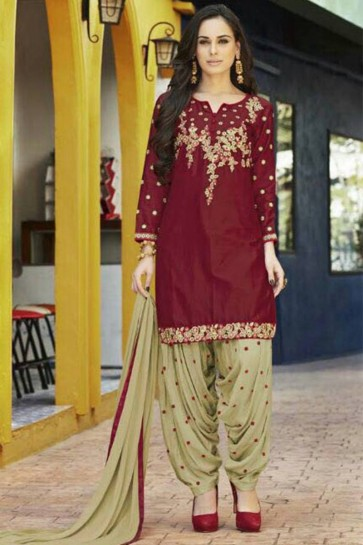Maroon JAM SILK Patiala Suit