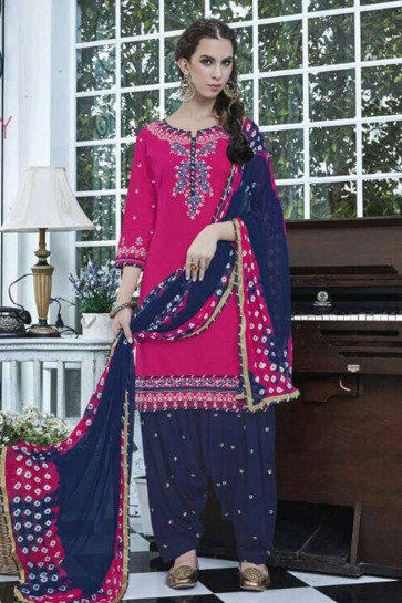 pink Cotton Patiala Suit