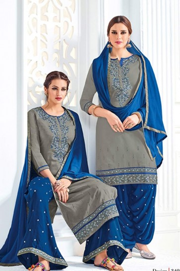 gray Cotton Patiala Suit