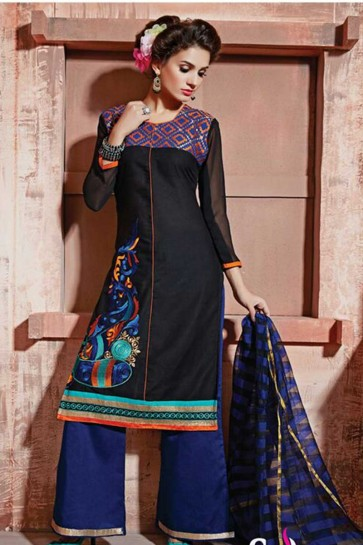 black Cotton Semi Lawn Salwar kameez