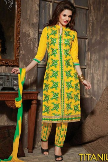 yellow Cotton Semi Lawn Salwar kameez